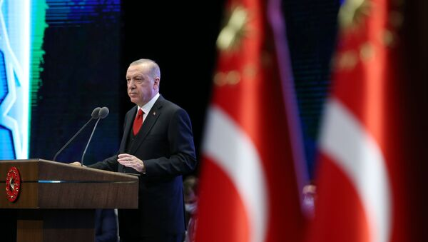 Türkiye Cumhurbaşkanı Recep Tayyip Erdoğan, Beştepe Millet Kongre ve Kültür Merkezi'nde Cumhurbaşkanlığı Hükümet Kabinesi İki Yıllık Değerlendirme Toplantısına iştirak ederek konuşma yaptı. - Sputnik Türkiye