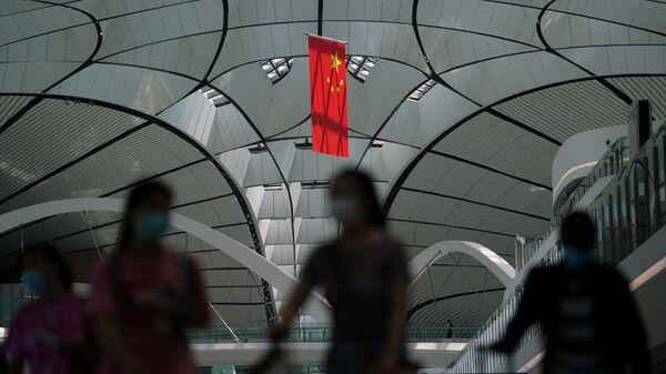 Çin bayrağı - koronavirüs - maske - Pekin - Sputnik Türkiye
