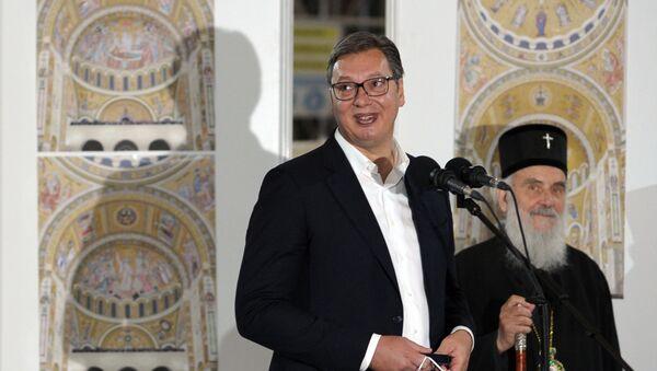Sırbistan Cumhurbaşkanı Aleksandar Vucic, başkent Belgrad'da ince işleri ve dekorasyonu devam eden Aziz Sava Katedrali'nin Ortodoks Hıristiyanlar için yeni Ayasofya olacağını belirtti. - Sputnik Türkiye