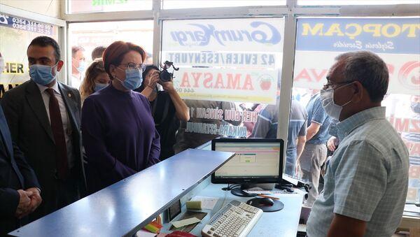 İYİ Parti Genel Başkanı Meral Akşener, çeşitli temaslarda bulunmak üzere geldiği Çorum'un Sungurlu ilçesinde esnaf ziyaretinde bulundu. - Sputnik Türkiye