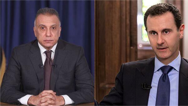 Irak Başbakanı Mustafa Kazimi ve Suriye Devlet Başkanı Beşar Esad - Sputnik Türkiye