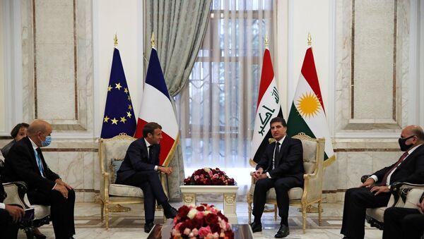 Irak Kürt Bölgesel Yönetimi (IKBY) Başkanı NeçirvanBarzani, başkent Bağdat'ta Fransa Cumhurbaşkanı Emmanuel Macron ile görüştü. - Sputnik Türkiye