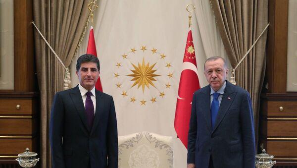 Türkiye Cumhurbaşkanı Recep Tayyip Erdoğan, Irak Kürt Bölgesel Yönetimi (IKBY) Başkanı Neçirvan Barzani'yi kabul etti. - Sputnik Türkiye