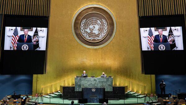 ABD Başkanı Donald Trump'ın koronavirüs pandemisi nedeniyle sanal düzenlenen 75. BM Genel Kurulu'na video kaydıyla hitabı - Sputnik Türkiye