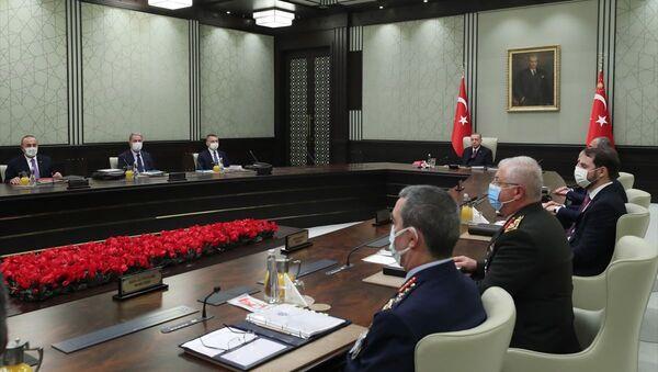 Milli Güvenlik Kurulu (MGK), Cumhurbaşkanı Recep Tayyip Erdoğan başkanlığında Cumhurbaşkanlığı Külliyesi'nde toplandı. - Sputnik Türkiye