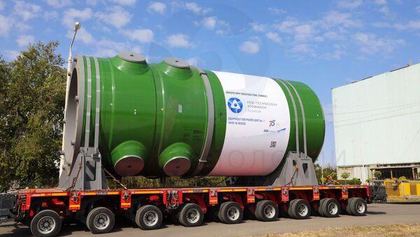 Akkuyu Nükleer Güç Santrali'nin yapımı süren 1 no'lu güç ünitesi için üretilen reaktör kabı - Sputnik Türkiye