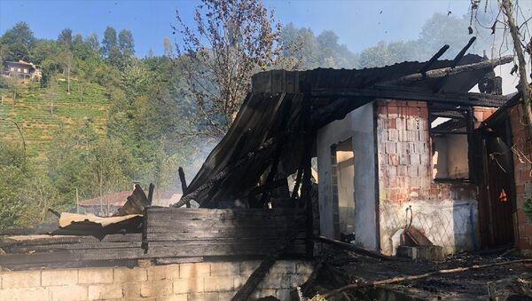 Rize'nin Çayeli ilçesinde çıkan yangında bir ev kullanılamaz hale geldi, 12 kovan arı da yandı. - Sputnik Türkiye