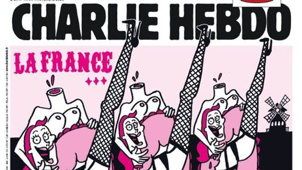1830 yılında Moulin Rouge kabaresinde doğan ve Paris'le özdeşleşen kankan dansını kapağa taşıyan Fransız hiciv dergisi Charlie Hebdo,kesik kafalarını ellerinde tutarak kankan yapan kadın dansçılar çizerek Fransa daima Fransa olacaktır diye yazdı. - Sputnik Türkiye