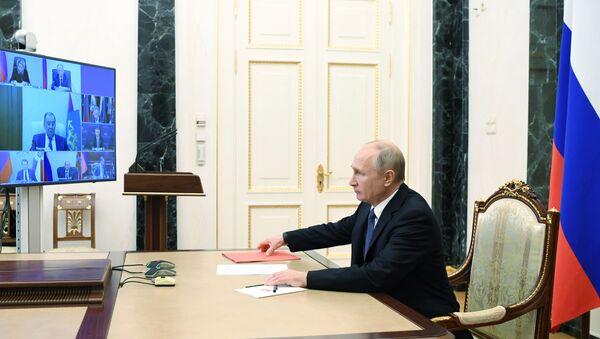 Vladimir Putin, Güvenlik Konseyi, telekonferans görüşmesi - Sputnik Türkiye