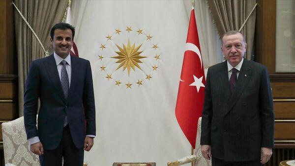 Cumhurbaşkanı Recep Tayyip Erdoğan ile Katar Emiri Şeyh Temim bin Hamed Al Sani  - Sputnik Türkiye