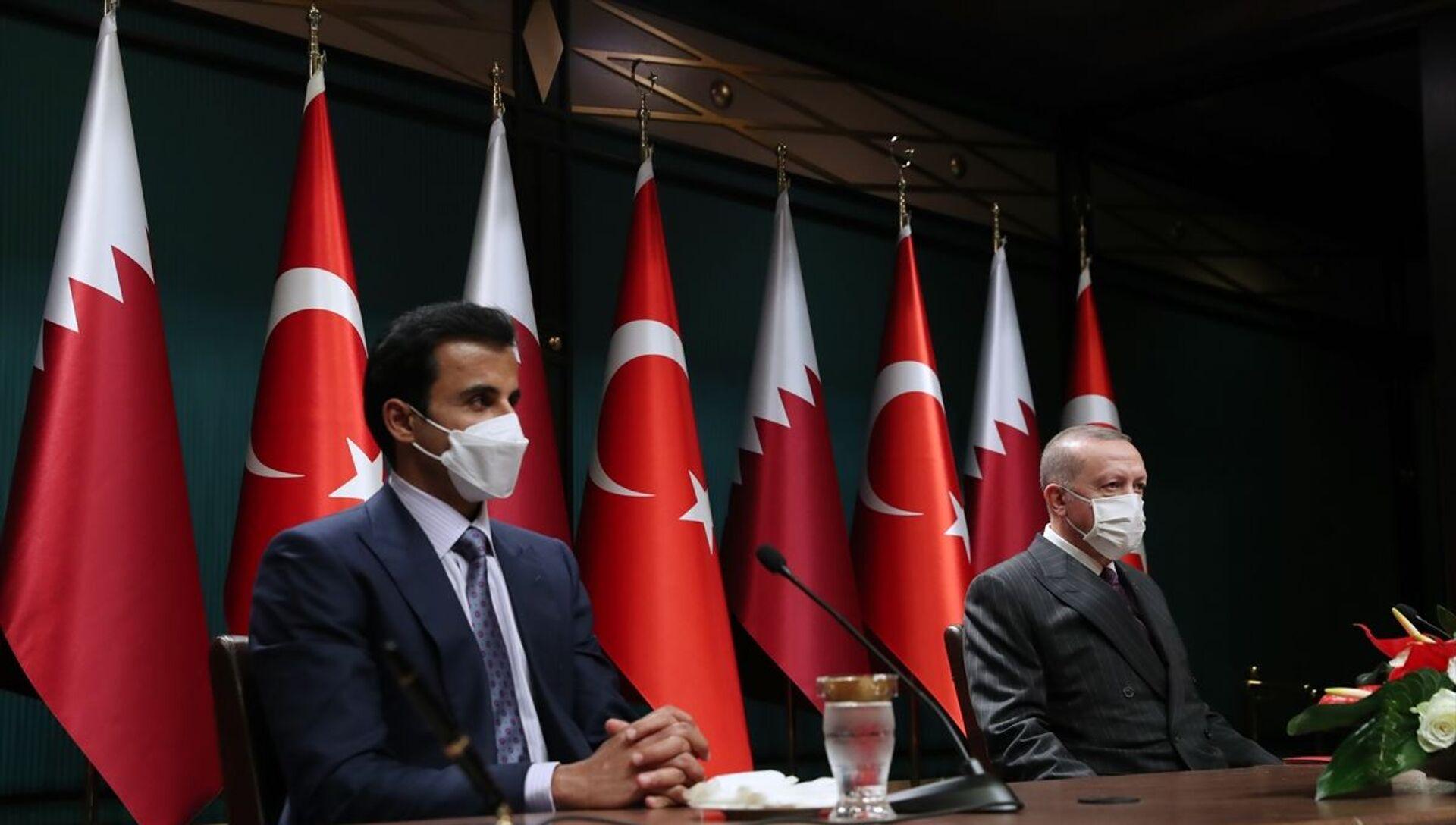 Türkiye Cumhurbaşkanı Recep Tayyip Erdoğan, Katar Emiri Şeyh Temim bin Hamed Al Sani - Sputnik Türkiye, 1920, 25.06.2021