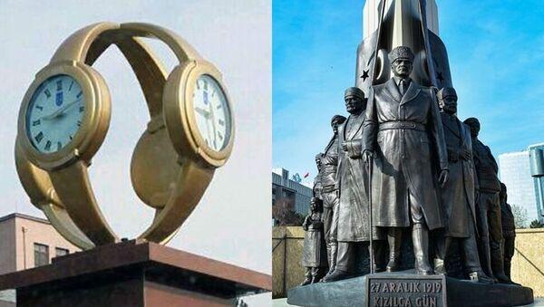 Ankara Büyükşehir Belediyesi'nin (ABB), Atatürk'ün Ankara'ya gelişinin yıl dönümü anısına Genelkurmay Kavşağı'nda yaptırdığı 27 Aralık 1919 Kızılca Gün Anıtı'nın açılışı yapıldı. - Sputnik Türkiye