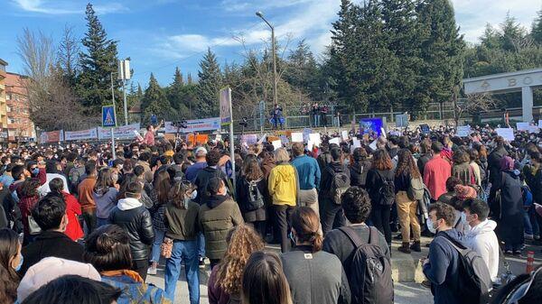 Boğaziçi Üniversitesi öğrencilerinin protestosundan. - Sputnik Türkiye