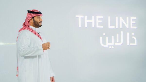 SuudiArabistan Veliaht Prensi Muhammed bin Selman (MbS), NEOM içindeki 'The Line'ı (Çizgi) 'sıfır karbon şehri' olarak sundu. - Sputnik Türkiye