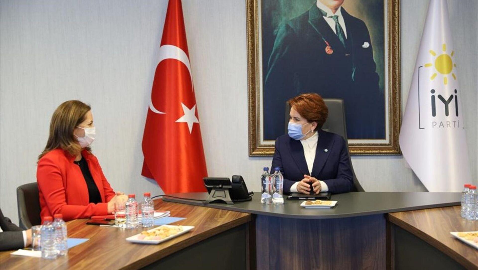 DİSK Genel Başkanı Arzu Çerkezoğlu ve beraberindeki heyet, İYİ Parti Genel Başkanı Meral Akşener'i ziyaret etti. - Sputnik Türkiye, 1920, 02.02.2021
