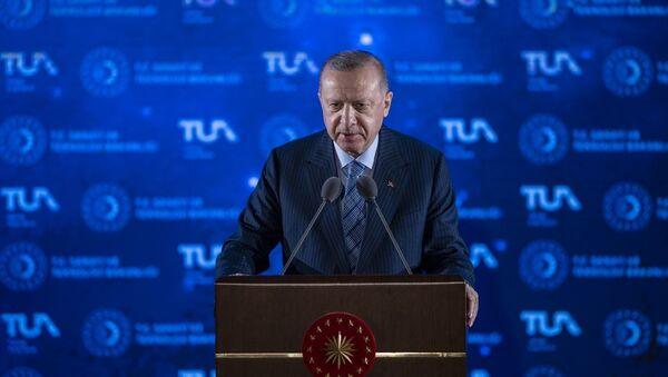 Türkiye Cumhurbaşkanı Recep Tayyip Erdoğan, Beştepe Millet Kongre ve Kültür Merkezi'nde düzenlenen Milli Uzay Programı Tanıtım Toplantısı'na katılarak konuşma yaptı. - Sputnik Türkiye