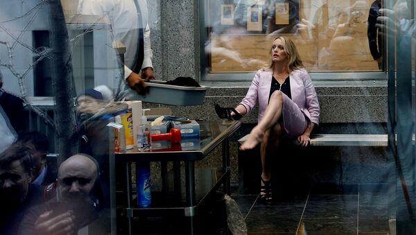 Asıl adı Stephanie Clifford olan Stormy Daniels, New York'ta girdiği mahkemede güvenlik taramasından geçtikten sonra - Sputnik Türkiye
