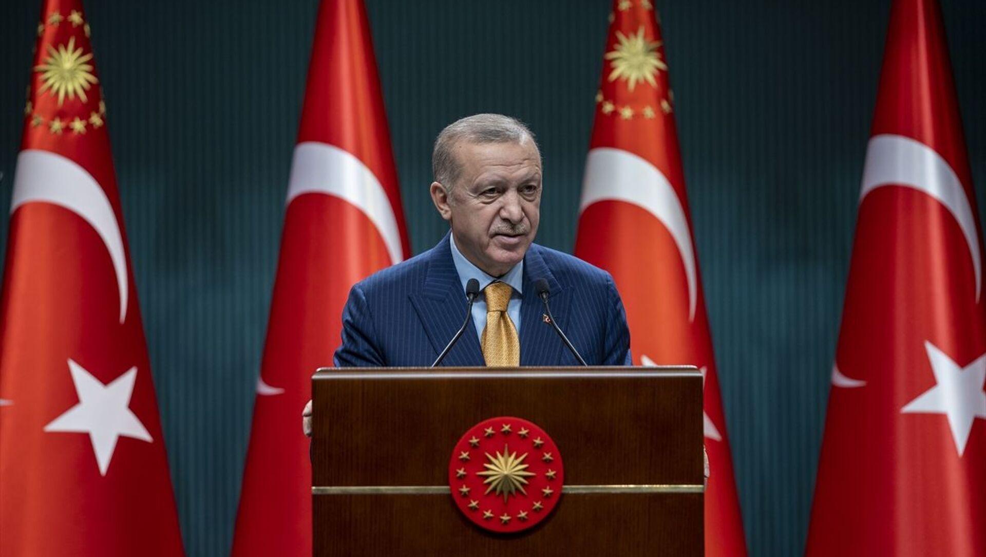 Türkiye Cumhurbaşkanı Recep Tayyip Erdoğan, Cumhurbaşkanlığı Kabine Toplantısı'nın ardından açıklamalarda bulundu. - Sputnik Türkiye, 1920, 17.02.2021