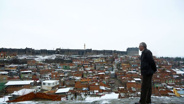 Diyarbakır'da kar yağışı gece saatlerinde başladı. Kentin bulvar, cadde, sokakları beyaza bürünürken, kar kalınlığı 10 santimetreyi geçti. - Sputnik Türkiye