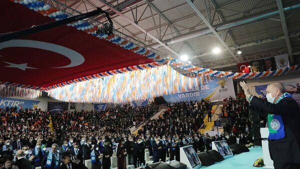 Recep Tayyip Erdoğan - Yenişehir kapalı spor salonu - Kongre - Sputnik Türkiye