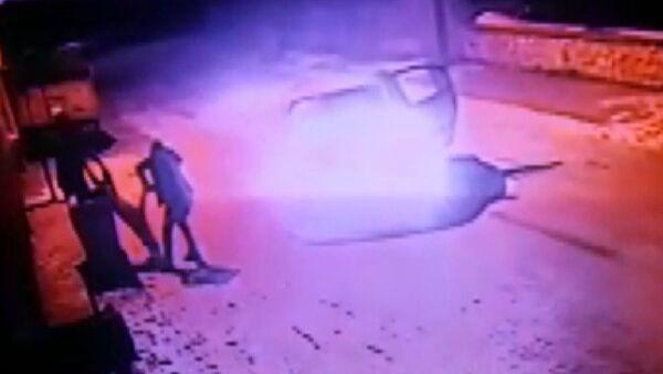 Konya'da sokak köpeğinin otomobil içerisinden silahla vurduktan sonra yaralayan kimliği belirsiz kişiler, can çekişen köpeği tekmeledikten sonra çöpe attı. Şahısların köpeği vurma anı ve tekmeledikten sonar çöpe atma anları kameraya yansıdı. - Sputnik Türkiye