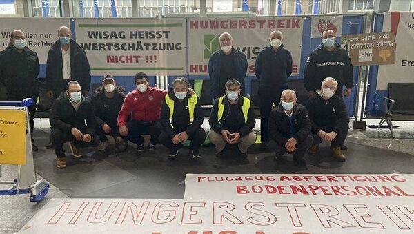 Frankfurt Havalimanı'nda işten çıkarılan işçiler açlık grevinde - Sputnik Türkiye