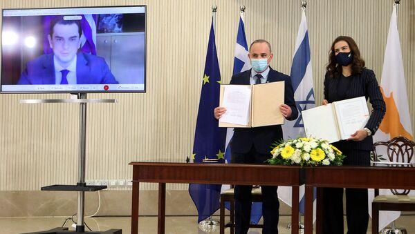Rum yönetimi, Yunanistan ve İsrail,elektrikşebekelerini birbirine bağlamak üzere mutabakat zaptı imzaladı - Sputnik Türkiye