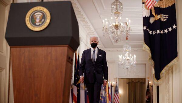 ABD Başkanı Joe Biden, ülkede yeni tip koronavirüs (Kovid-19) salgını nedeniyle ilan edilen kapanmanın birinci yıldönümünde ulusa sesleniş konuşması gerçekleştirdi. - Sputnik Türkiye