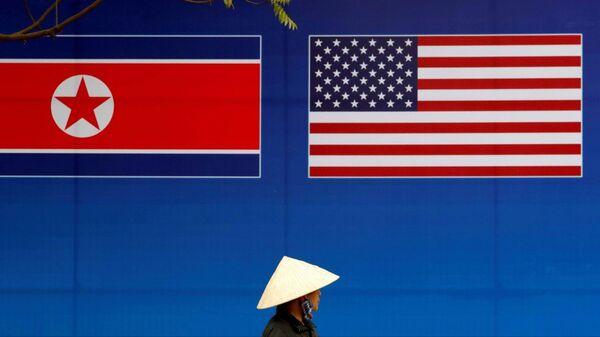 Kuzey Kore - ABD - bayrak - Sputnik Türkiye