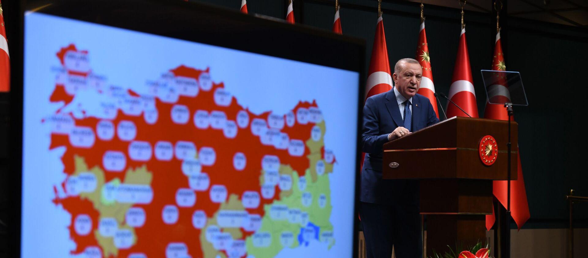 Cumhurbaşkanı Recep Tayyip Erdoğan, kabine toplantısı sonrası yeni koronavirüs kararlarını açıkladı - Sputnik Türkiye, 1920, 29.03.2021