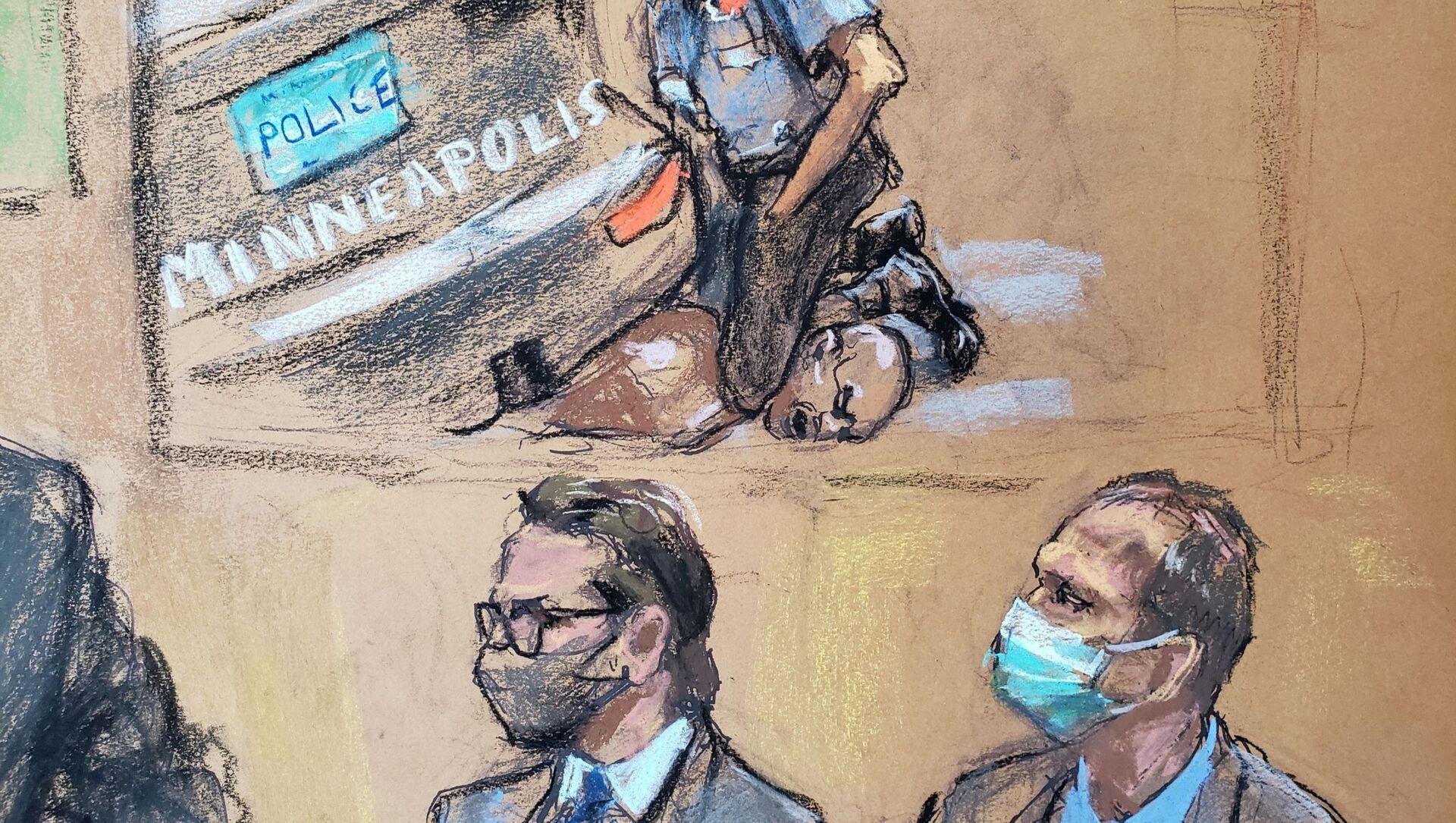 Mahkeme çizimiyle George Floyd davasında boğularak öldürülmesinin videosu gösterilirken avukat Eric Nelson ile müvekkili olan eski polis memuru Derek Chauvin (sağda) - Sputnik Türkiye, 1920, 31.03.2021