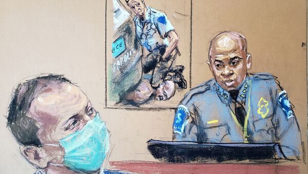 ABD'de George Floyd'un öldürülmesi davasının 6. gününde Minneapolis Polis Şefi Arradondo tanık olarak dinlendi - Sputnik Türkiye