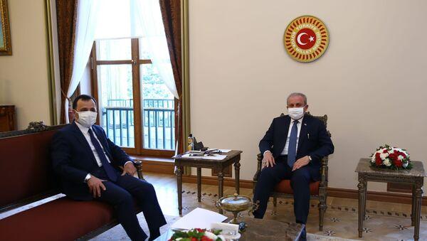 TBMM Başkanı Mustafa Şentop, Anayasa Mahkemesi Başkanı Zühtü Arslan'ı kabul etti. - Sputnik Türkiye