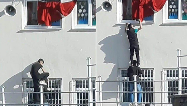 Türk bayrağını düzelttiler - Sputnik Türkiye