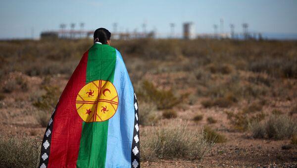 Dev şirketlerin Arjantin'deki Vaca Muerta'da 30 bin kilometrekarelik alanda kaya petrolü ve gazı çıkardığı toprakların kendilerine ait olduğunu söyleyen yerli Mapuçe halkının sözcüsü Lorena Bravo, gaz tesisi önünde Mapuçe bayrağına sarınmış halde - Sputnik Türkiye