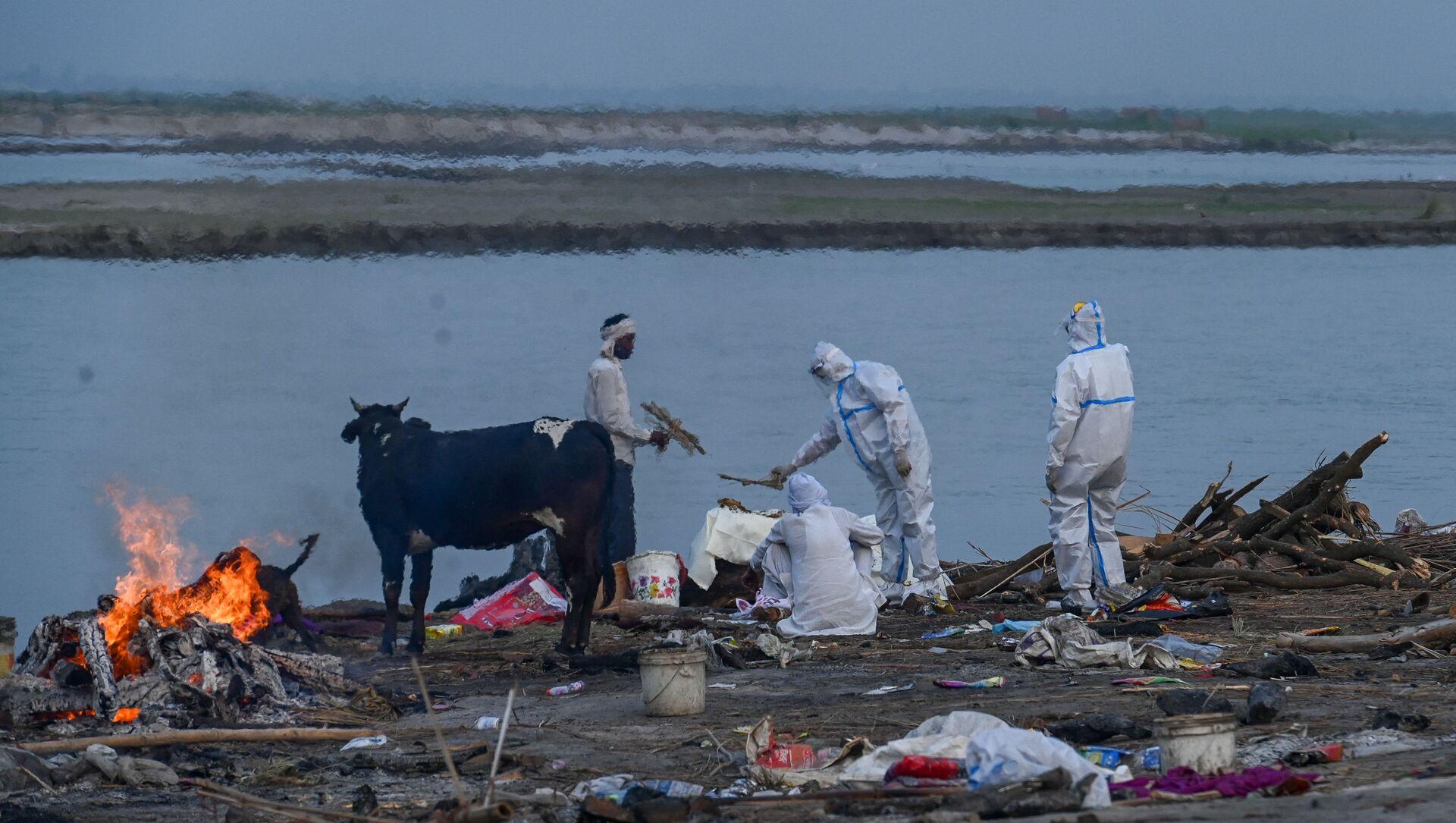 Ganj Nehri kıyısında bir Kovid-19 kurbanının yakılması (Hindistan'ın Uttar Pradesh eyaletinin Garhmukteshwar kenti) - Sputnik Türkiye, 1920, 12.05.2021