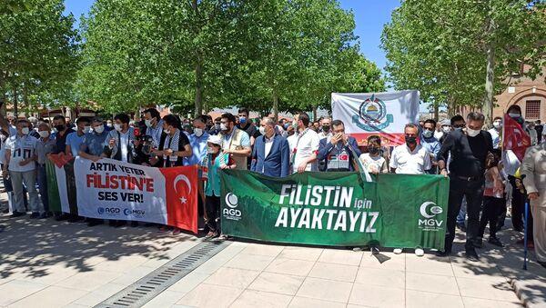 Hacı Bayram Veli Camii avlusunda Filistin protestosu - Sputnik Türkiye