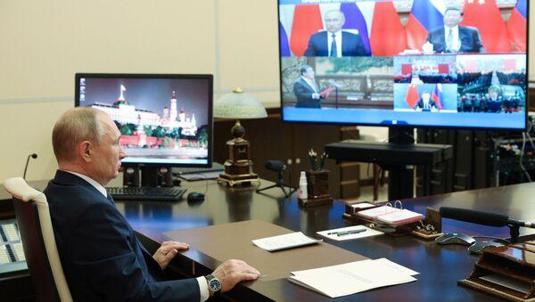 Vladimir Putin / video-konferans görüşme - Sputnik Türkiye