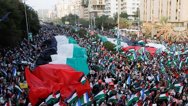 Pakistan'da on binlerce kişi Filistin için bir araya geldi - Sputnik Türkiye