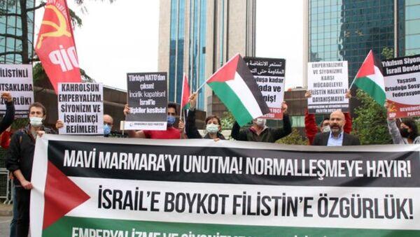 İsrail Başkonsolosluğu önünde Mavi Marmara protestosu - Sputnik Türkiye