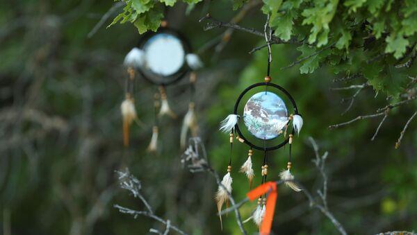 Yerli çocuk mezarlarının bulunduğu Brandon Katolik Yatılı Okulu'na asılan yerlilerin alameti farikası düş kapanları (Brandon, Manitoba, Kanada) - Sputnik Türkiye