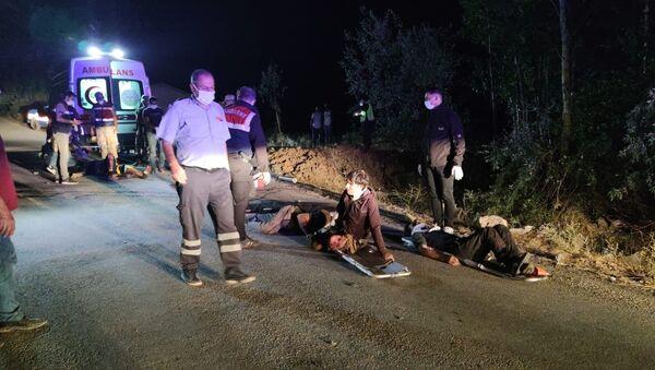 Van'ın Muradiye İlçesi'nde sığınmacı taşıyan minibüsün kaza yapması sonucu çok sayıda yaralı ve ölü olduğu belirtildi. - Sputnik Türkiye