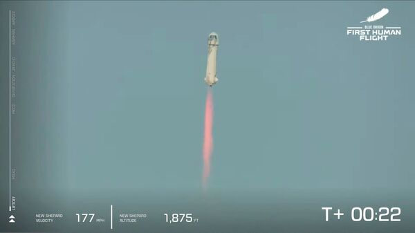 Amazon'un kurucusu Jeff Bezos, sahibi olduğu uzay araştırmaları şirketi Blue Origin roketi ile roketi ile bugün uzaya fırlatıldı. - Sputnik Türkiye