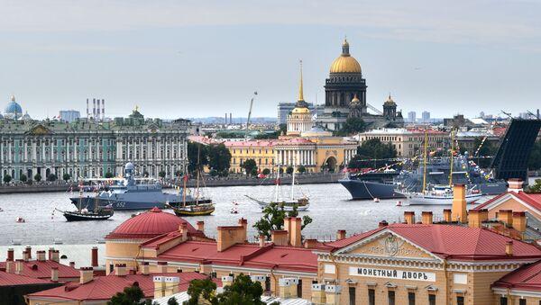 Saint Petersburg'da savaş gemileri ve nükleer denizaltıların geçit töreni yaptığı Rusya Donanma Günü - Sputnik Türkiye