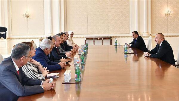 Azerbaycan Cumhurbaşkanı Aliyev, TBMM Başkanı Şentop'u kabul etti - Sputnik Türkiye