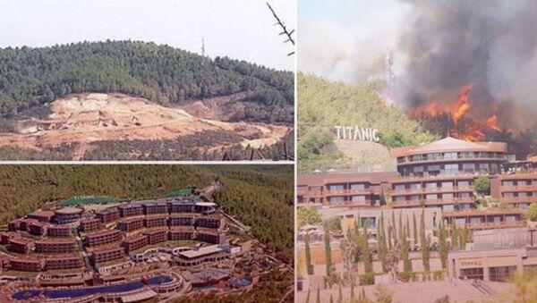 Çıkan yangında yanan ağaçların yerine dikilen otel, yangın nedeniyle tahliye edildi - Sputnik Türkiye