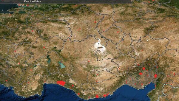NASA'nın FIRMS uygulamasında Manavgat'taki orman yangını - Sputnik Türkiye