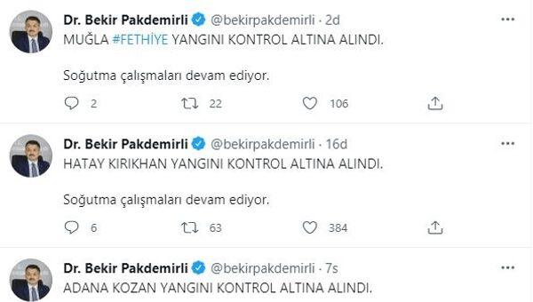 Pakdemirli, açıklamayı kişisel Twitter hesabı üzerinden yaptı. - Sputnik Türkiye