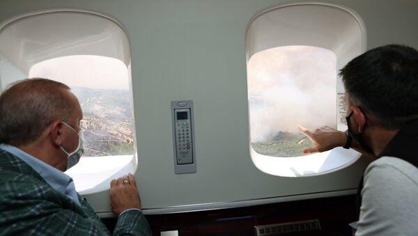 Cumhurbaşkanı Erdoğan, orman yangınlarıyla ilgili havadan incelemelerde bulundu. - Sputnik Türkiye