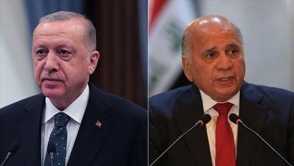 Türkiye Cumhurbaşkanı Recep Tayyip Erdoğan, Irak Dışişleri Bakanı Fuat Hüseyin - Sputnik Türkiye